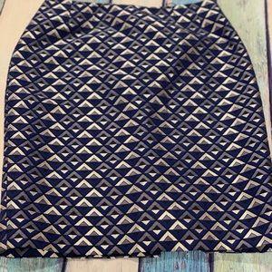 Blue black and silver midi skirt